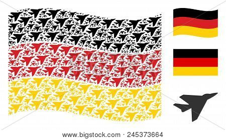 Waving Germany Official Flag. Vector Airplane Intercepter Pictograms Are Placed Into Geometric Germa