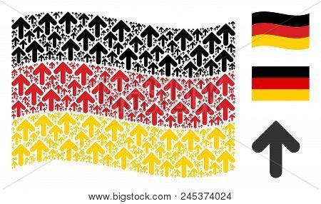 Waving Germany State Flag. Vector Arrow Direction Design Elements Are Arranged Into Conceptual Germa