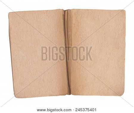Old Open Book On White. Open Antique Book Isolated