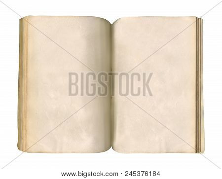 Vintage Old Open Book  Isolated On White