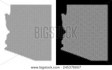 Halftone Round Dot Arizona State Map. Vector Territorial Maps In Gray And White Colors On White And