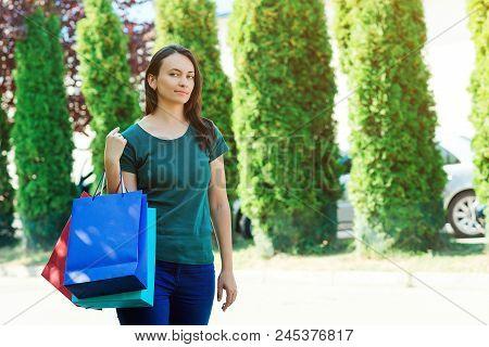 Happy Woman Enjoying In Shopping.