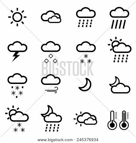 Set Of Weather Icons. Minimalism. Set With Different Weather Icons: Cloud, Sun, Moon, Rain Snow Drop