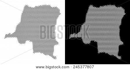 Halftone Round Blot Democratic Republic Of The Congo Map. Vector Territory Maps In Gray And White Co