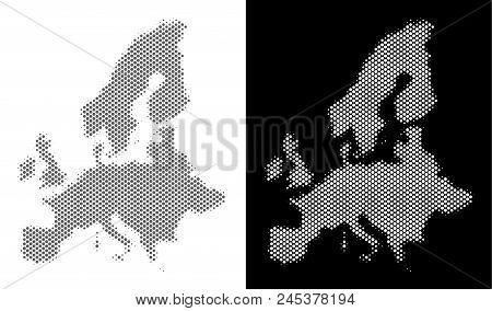 Halftone Circle Spot European Union Map. Vector Geographical Maps In Gray And White Colors On White
