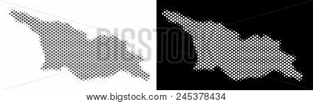Halftone Circle Spot Georgia Map. Vector Territory Maps In Grey And White Colors On White And Black