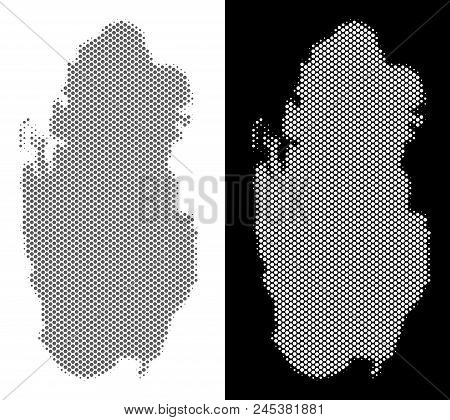 Halftone Circle Spot Qatar Map. Vector Territory Maps In Gray And White Colors On White And Black Ba