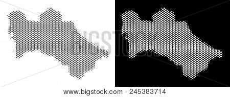 Halftone Round Spot Turkmenistan Map. Vector Territorial Maps In Gray And White Colors On White And