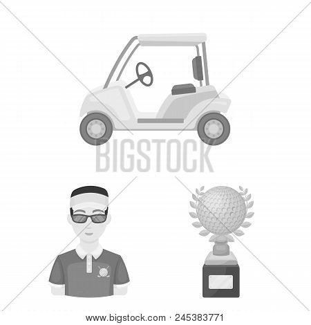 Golf And Attributes Monochrome Icons In Set Collection For Design.golf Club And Equipment Vector Sym