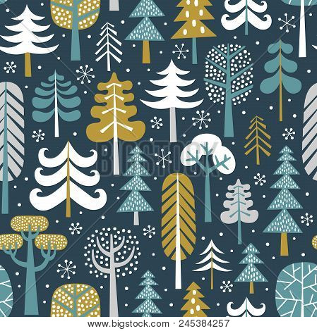Winter Snowy Woods Seamless Vector Pattern. Silhouettes Of Cute Snowy Trees On Dark Blue Background.