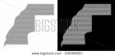 Halftone Circle Pixel Western Sahara Map. Vector Territory Maps In Grey And White Colors On White An