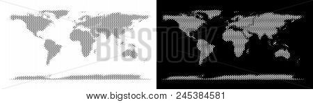 Halftone Round Blot World Continent Map. Vector Geographical Maps In Grey And White Colors On White