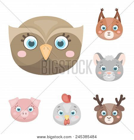 Muzzles Of Animals Cartoon Icons In Set Collection For Design. Wild And Domestic Animals Vector Symb