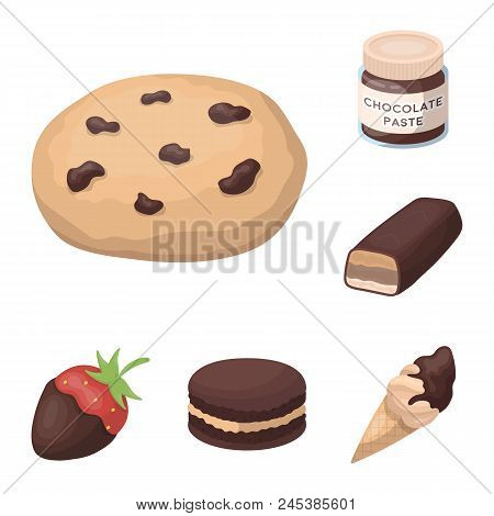Chocolate Dessert Cartoon Icons In Set Collection For Design. Chocolate And Sweets Vector Symbol Sto