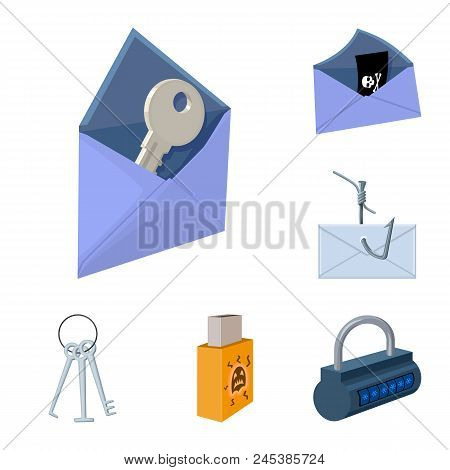Hacker And Hacking Cartoon Icons In Set Collection For Design. Hacker And Equipment Vector Symbol St