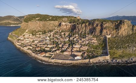 Aerial View Of The Ancient Hillside Town Of Monemvasia Located In The Southeastern Part Of The Pelop