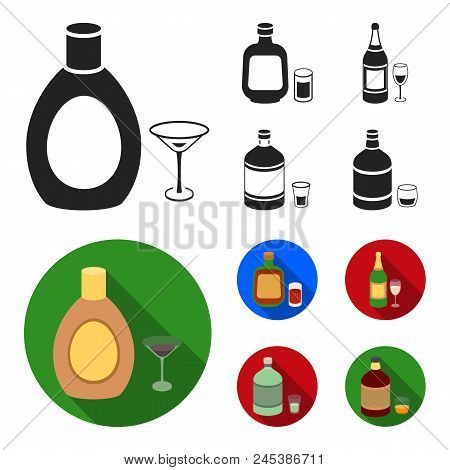 Liquor Chocolate, Champagne, Absinthe, Herbal Liqueur.alcohol Set Collection Icons In Black, Flat St