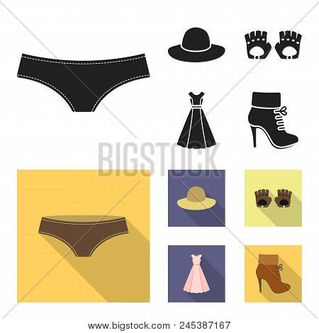 Panties, Gloves, Dress, Hat. Clothing Set Collection Icons In Black, Flat Style Vector Symbol Stock