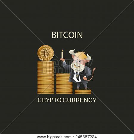 Bull Businessman Demonstrates Bitcoin Growth. The Trader. Cryptography, An Illustration Of Financial