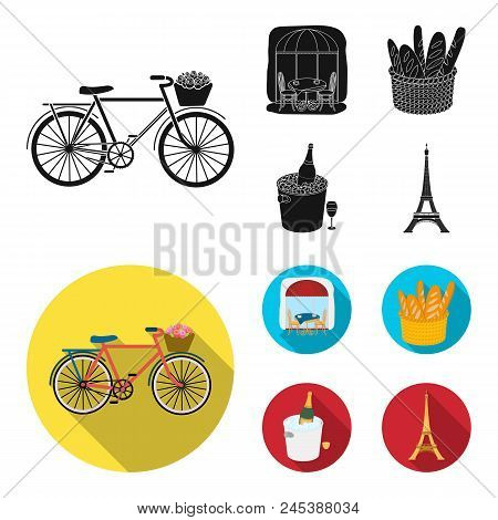 Bicycle, Transport, Vehicle, Cafe .france Country Set Collection Icons In Black, Flat Style Vector S
