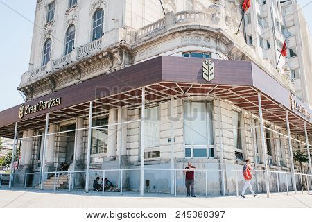 Istanbul, June 17, 2017: The Building Of The Turkish National Agricultural Bank. The Inscription In