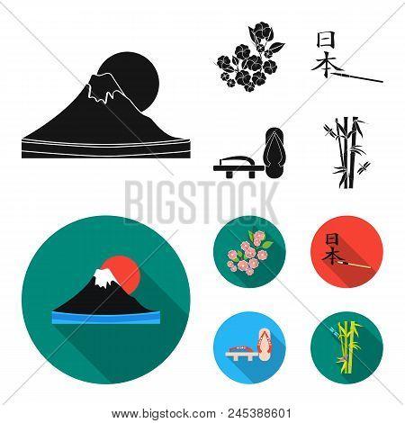 Geta, Sakura Flowers, Bamboo, Hieroglyph.japan Set Collection Icons In Black, Flat Style Vector Symb