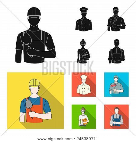 Cook, Painter, Teacher, Locksmith Mechanic.profession Set Collection Icons In Black, Flat Style Vect