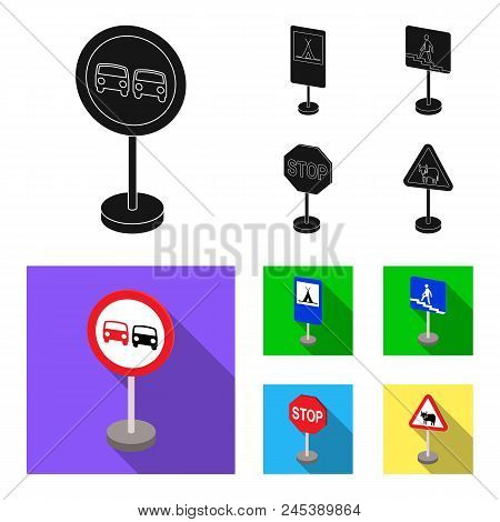 Different Types Of Road Signs Black, Flat Icons In Set Collection For Design. Warning And Prohibitio