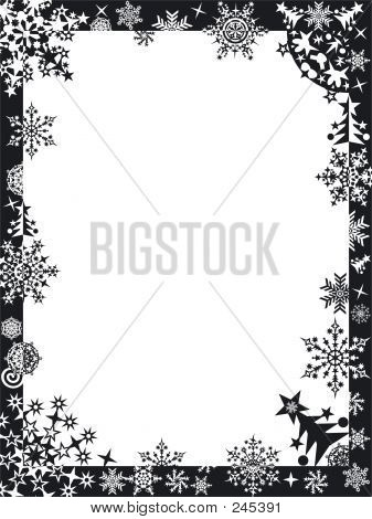 Winter Frame With Snowflakes