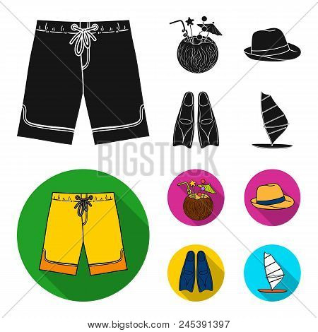 Swimming Trunks, Cocktail With Coconut, Panama And Flippers. Surfing Set Collection Icons In Black,