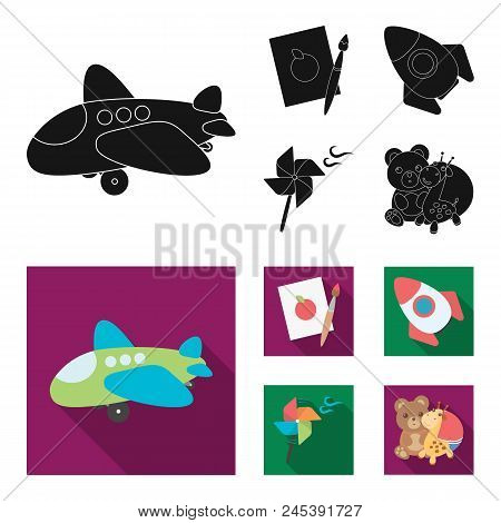 Children's Toy Black, Flat Icons In Set Collection For Design. Game And Bauble Vector Symbol Stock W