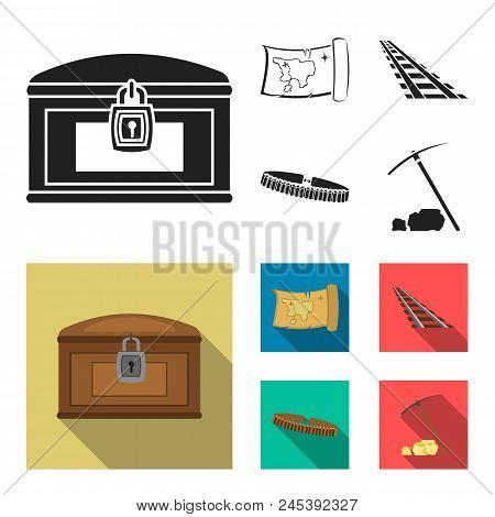 Treasure Map, Chest, Rails, Patrol.wild West Set Collection Icons In Black, Flat Style Vector Symbol