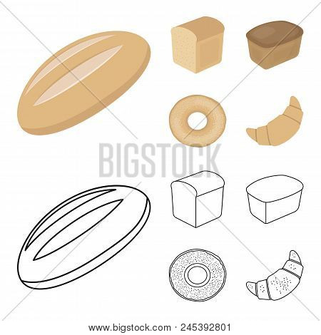 Loaf Cut, Bagel, Rectangular Dark, Half A Loaf.bread Set Collection Icons In Cartoon, Outline Style
