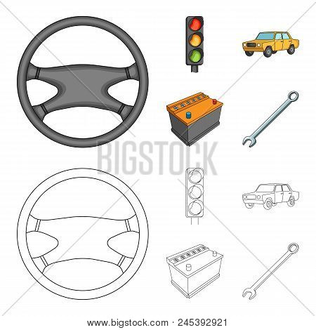Traffic Light, Old Car, Battery, Wrench, Car Set Collection Icons In Cartoon, Outline Style Vector S