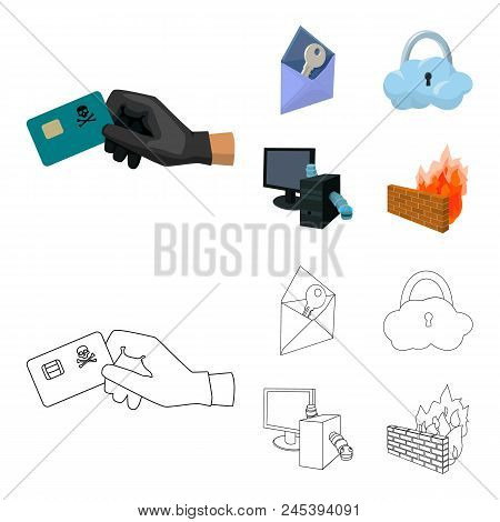 System, Internet, Connection, Code .hackers And Hacking Set Collection Icons In Cartoon, Outline Sty