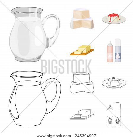 Milk, Calcium, Product, Food .milk Product And Sweet Set Collection Icons In Cartoon, Outline Style