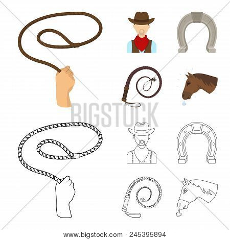 Hand Lasso, Cowboy, Horseshoe, Whip. Rodeo Set Collection Icons In Cartoon, Outline Style Vector Sym