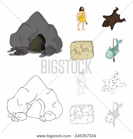 Ancient, World, Stone Age .stone Age Set Collection Icons In Cartoon, Outline Style Vector Symbol St