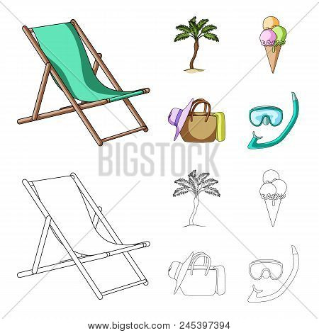 Beach, Palm Tree, Ice Cream.summer Vacation Set Collection Icons In Cartoon, Outline Style Vector Sy