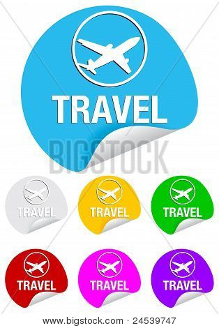 travel, round stickers