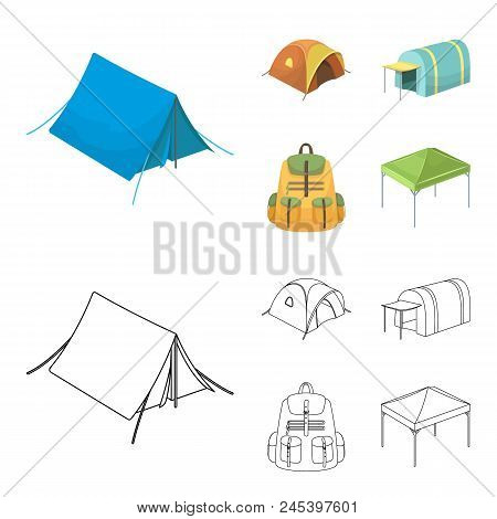Backpack And Other Kinds Of Tents.tent Set Collection Icons In Cartoon, Outline Style Vector Symbol