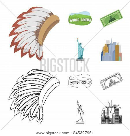 Mohavk, World Cinema, Dollar, A Statue Of Liberty.usa Country Set Collection Icons In Cartoon, Outli