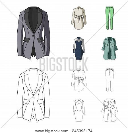 Women's Clothing Cartoon,outline Icons In Set Collection For Design.clothing Varieties And Accessori