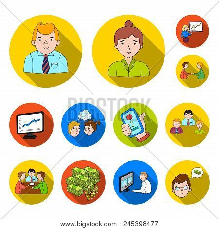 Business Conference And Negotiations Flat Icons In Set Collection For Design.business And Training V
