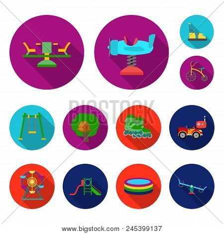 Playground, Entertainment Flat Icons In Set Collection For Design. Attraction And Equipment Vector S
