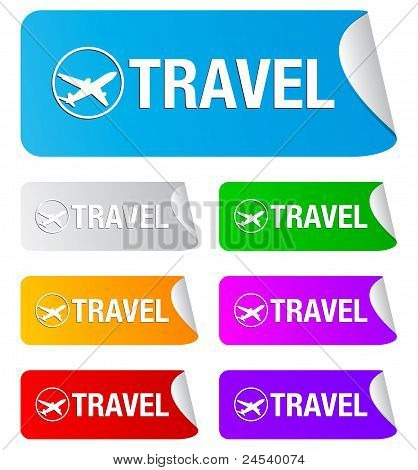 travel, rectangular stickers