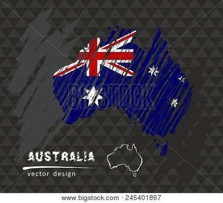 Australia Map With Flag.Australia Map Flag Vector Photo Free Trial Bigstock