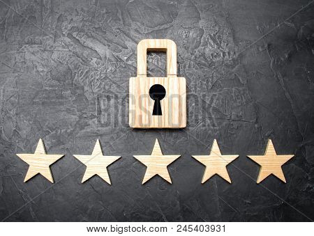 A Wooden Padlock And Five Stars. Security, Security Of Users And Business. Internet Security, Antivi