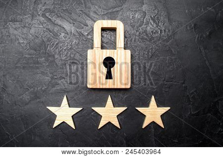 Wooden Padlocks And Three Stars. Security, Security Of Users And Business. Internet Security, Antivi