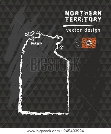 Map Of Northern Territory, Chalk Sketch Vector Illustration